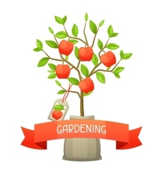 Seedling apple tree with tag vector
