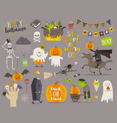 Set halloween sign symbol and characters vector