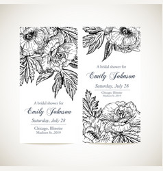 set invitation cards with vintage flowers vector image