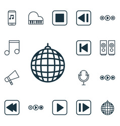 Set of 16 multimedia icons includes octave note vector