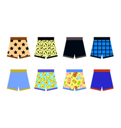 set of colored underpants shorts with a patternon vector image
