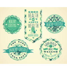 Set of Healthy Lifestyle Labels and Signs vector image