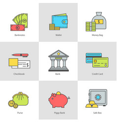 set of icons money payment and finance vector image