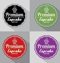 Set of Premium Cupcake Label vector