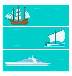 Ship cruiser boat sea brochure vessel travel vector