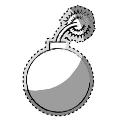 Sticker monochrome blurred of bomb icon vector