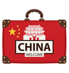 suitcase in colors chinese flag vector image