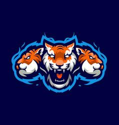 Tigers e-sport mascot logo design vector