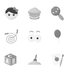 Toys set icons in monochrome style Big collection vector image