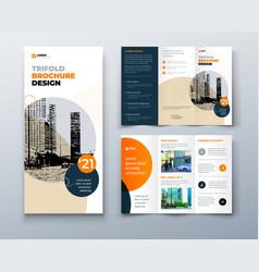 Tri fold orange brochure design with square shapes vector