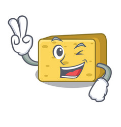 two finger character fresh gouda cheese vector image