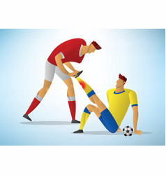 Two men football player first aid from the vector
