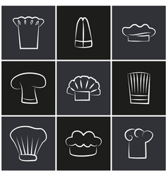 variety chef hats set of white cook headwear logo vector image
