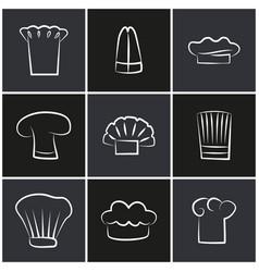 Variety chef hats set white cook headwear logo vector