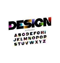 vibrant color modern font vector image