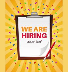 We are hiring announcement vacancy recruitment vector