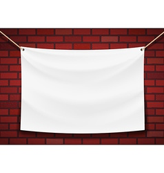 White banner hanging on a brick wall background vector