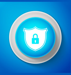 white shield security with lock icon isolated vector image