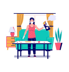 Woman in face mask gloves cleaning table surface vector