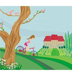 Woman riding a bike on a spring day vector