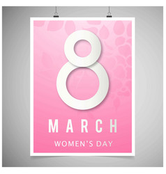 womens day card with pink background and vector image