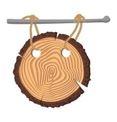 Wooden cartoon circle plate vector
