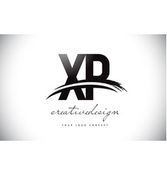 Xp x p letter logo design with swoosh and black vector