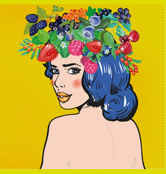 beautiful woman with berries wreath vector image vector image