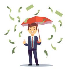 businessman standing with umbrella in money rain vector image