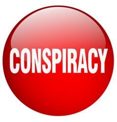 Conspiracy red round gel isolated push button vector