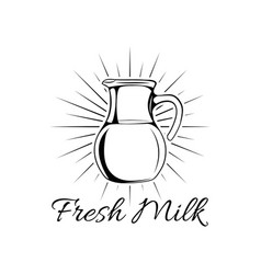 hand drawn milk jug isolated vector image vector image