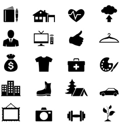 Icons set simple black vector image