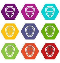 shield icon set color hexahedron vector image