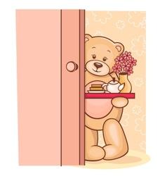 Teddy Bear breakfast tray vector image