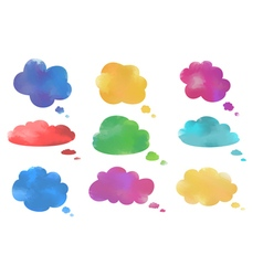 Watercolor cloud speech bubbles collection vector image vector image