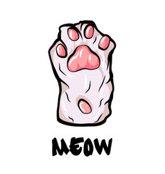 cat paw palm isolated on white background simple vector image