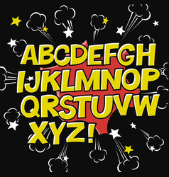 comic alphabet and speech bubble elementexplode vector image