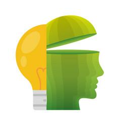 head think green bulb light energy vector image