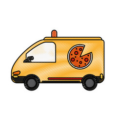 pizza car flat scribble vector image vector image