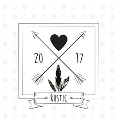 rustic card greeting feather heart with arrow vector image vector image