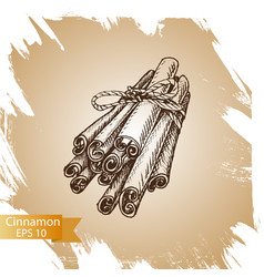 silhouettes of cinnamon sticks hand drawn vector image vector image
