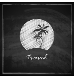 vintage with tropic island sign on blackboard vector image vector image