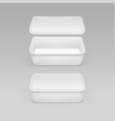 white food plastic box container with label vector image