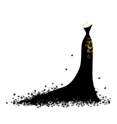 evening dress black on hangers vector image vector image