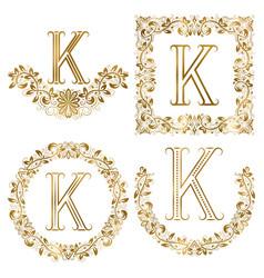 golden k letter ornamental monograms set heraldic vector image
