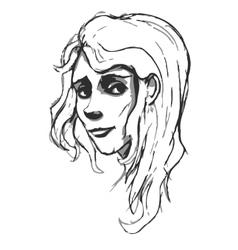 Hand-drawn woman portrait Pancil sketch imitation vector image vector image