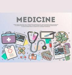 Medicine top view banner in line art style vector