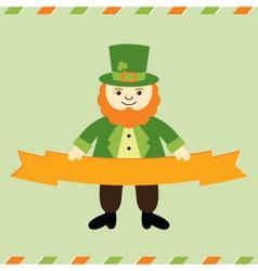 St Patricks Day leprechaun card vector image