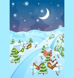cartoon winter village and vector image vector image