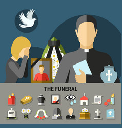 funeral and mourning composition vector image vector image